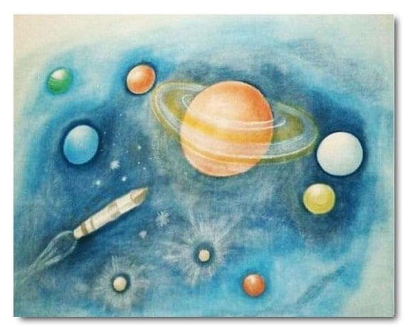 Children space decor baby boy nursery space wall by for Decor outer space