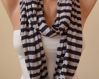 New - Black and Gray Striped Infinty Scarf  - Circle -  Loop Scarf - Combed Cotton Fabric