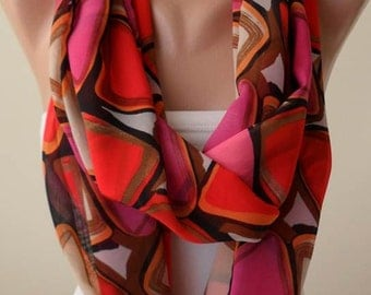 Red and Pink Multicolor Infinity Scarf -  Chiffon Fabric
