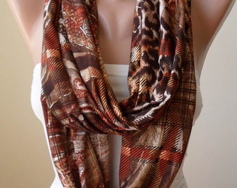 Brown- Leopard and Golden Infinity Scarf - Jersey Fabric