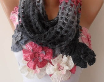 Pink - Gray and Creamy White Wool Crochet Scarf - Handknit Scarf