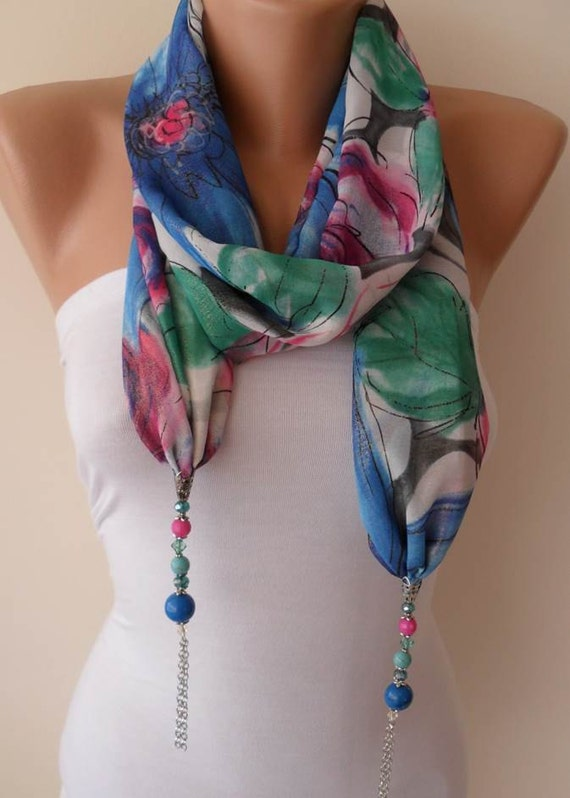 Necklace Scarf - Jewelry Scarf - Blue and Multicolor -  Silk - Chiffon Scarf with Blue Trim Edge - Silvery Fabric