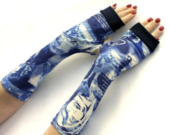 Blue Arm Warmers / Fingerless Gloves -  mittens, gloves, cuffs, urban clothing, street fashion, comics