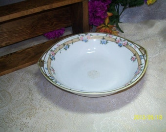 Nippon hand painted flower Morimura 1891 to 1921 double handle bowl