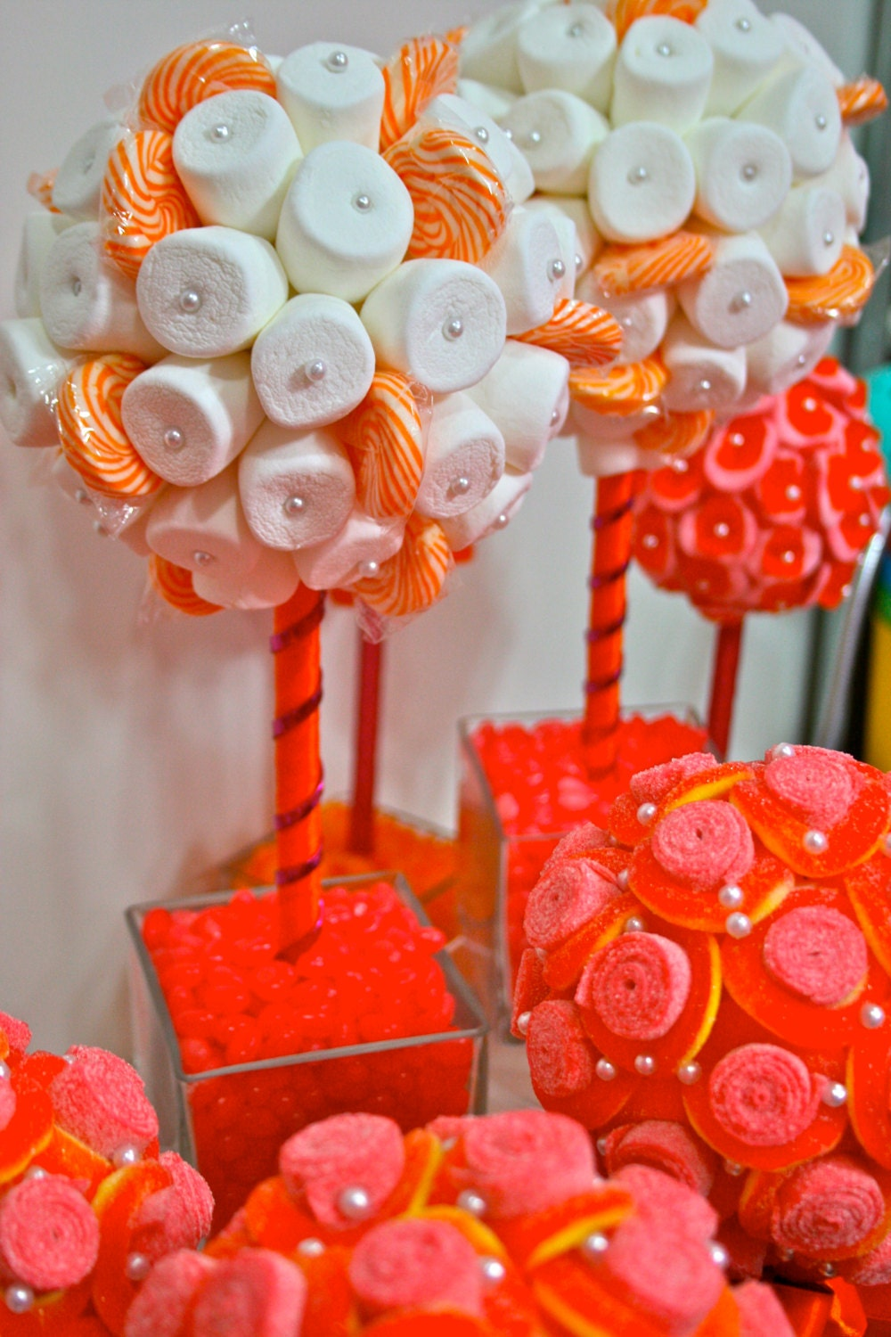 Orange fuchsia pink marshmallow lollipop candy land