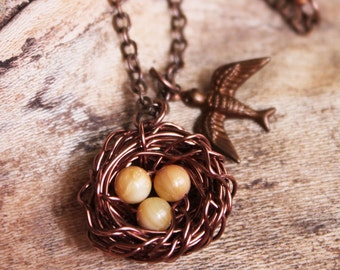 Birds Nest Necklace, Mom Necklace, Copper Necklace, Wire Wrapped Jewelry