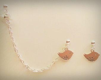 Birds & Bow Chain Cuff/Cartilage Earrings