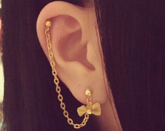 Mesh Bow Silver Gold Charm Cartilage Chain Earrings Helix Double Lobe Jewelry