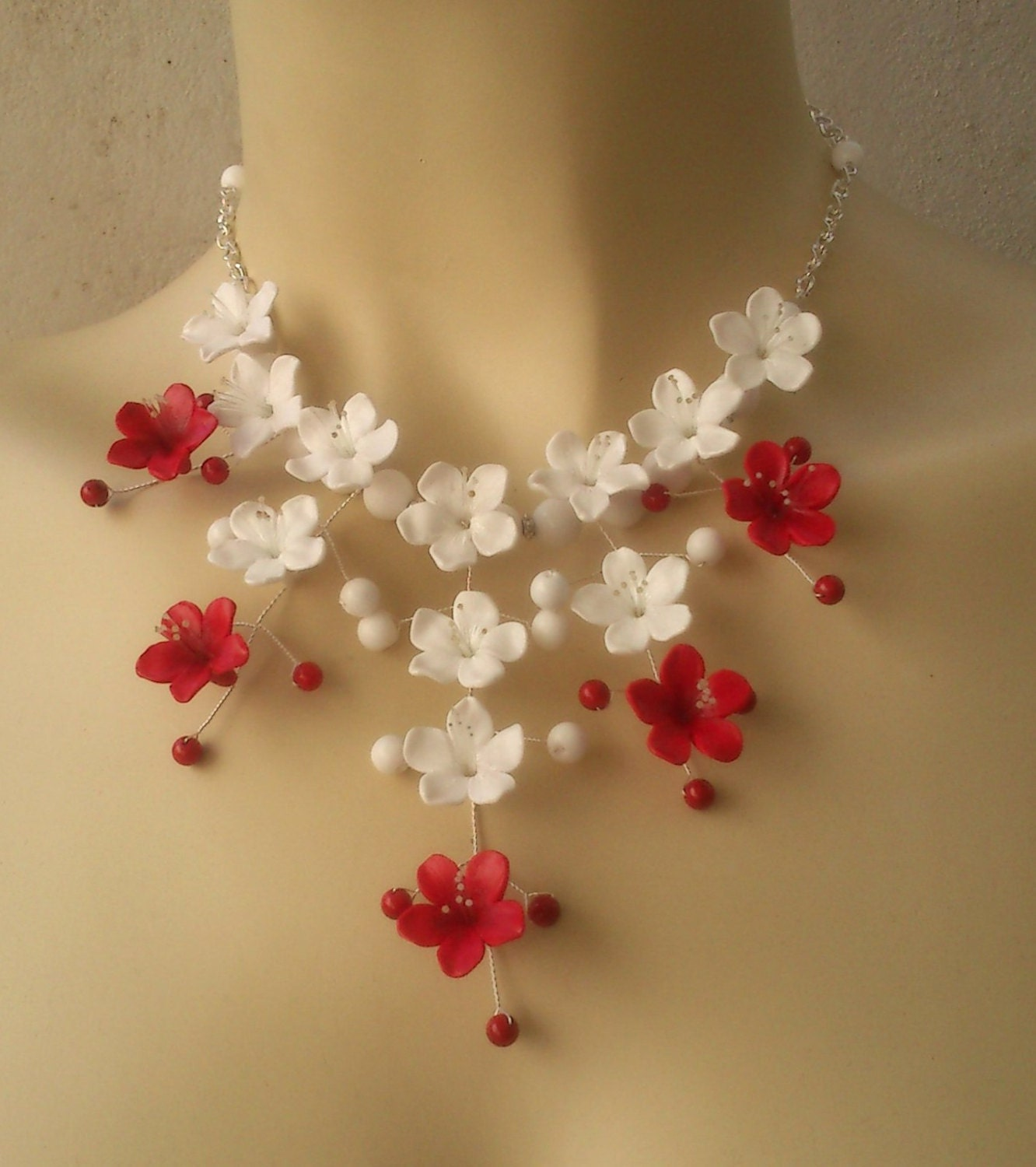 Red and white jewelry Flower jewelry set Polymer clay
