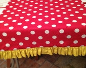 "14"" X 48"" Mickey Mouse Ruffle Runner Red w/White Polka Dot w/Yellow Ruffle"