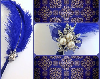 Large Elegant Royal Blue Feather Pen with Silver Pearl Brooch / Wedding Signing Pen / Guest Book Pen / Wedding Reception Accessories