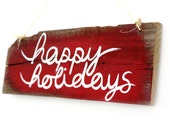 Happy Holidays Wood Sign Christmas Holiday Decor Rustic