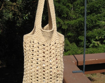 Pretty hand crocheted Acrylic Market Tote in Tan