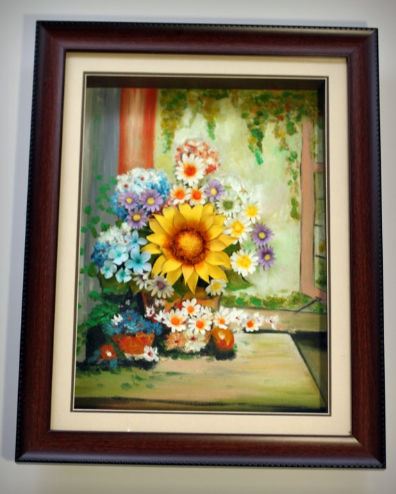 Shining Day, clay flower, 3D oil painting, unique wall decor