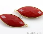 Red Onyx, Bezel Marquise Shape Gemstone Component, Gold Vermeil,    12x25mm 1 Piece, (BZC7174)