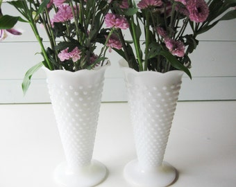 Milk Glass Vases, Hobnail Vase,  Wedding Table setting,  Flower arrangements