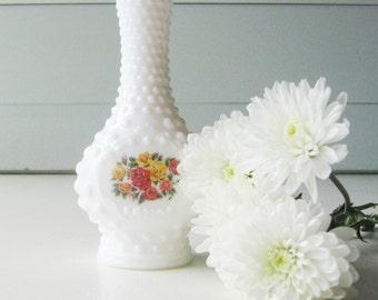 Avon Hobnail Vase, Milk Glass Vase, Vintage Avon Bottle, Collectible