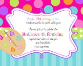 25 Art  Painting Party  Birthday  invitations with envelopes - Art Party with thank you notes