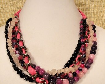 Hot Pink Bead and Ribbon Necklace