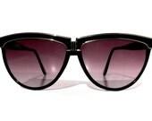 Vintage 80s Disco Diva Cat Eye Sunglasses, Deadstock Black Oversized Cat Eyes