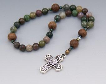 Anglican Rosary - Jasper Gemstone with Wood - Methodist Prayer Beads - Baptism Gifts - Chaplet - Item # 755