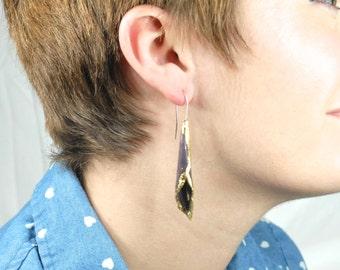 Amethyst Purple Enameled Formed Copper Earrings with Gold Leaf Edges