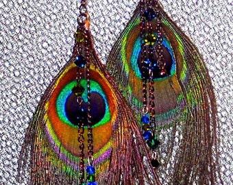 Peacock Feather Swarovski Crystal Earrings