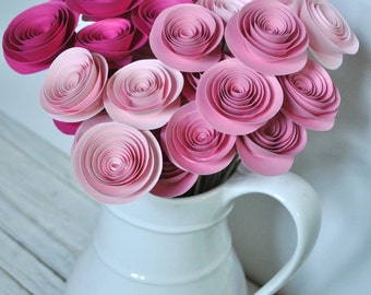 Pink Paper Flowers on Stems- Paper Flower Bouquet- Pink Home Decor