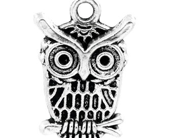 50 Pieces Cute Antique Silver Owl Charms