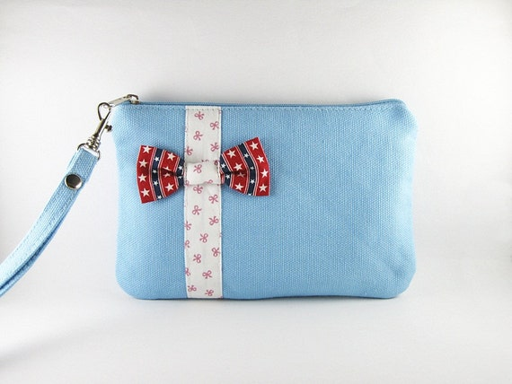 SUPER SALE - Blue with Little Bow Clutch - iPhone 5 Purse, iPhone 5 Wristlet, Cell Phone Wristlet, Cosmetic Bag ,Camera Bag, Zipper Pouch