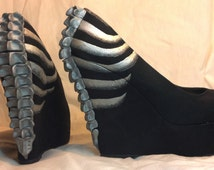 Beautiful Death Skeleton Wedge Heels Featuring Hand Sculpted 3D Spines And Painted Ribcage