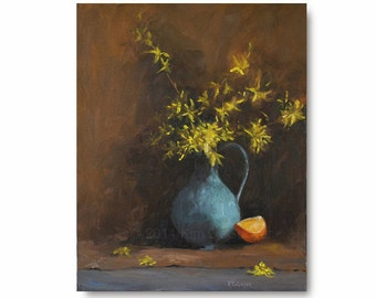 Yellow Flowers with Blue Pitcher Original Oil Painting, still life, bright, sunny blossoms, forsythia, robin's egg blue ceramic pitcher
