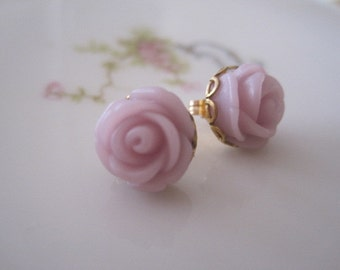 Little Pale Lavendar Rose Post  Earrings
