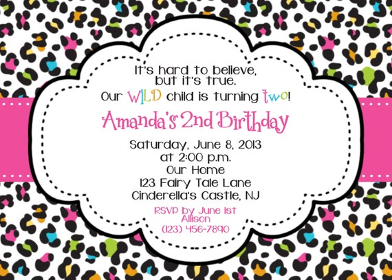 Items similar to Animal Print Rainbow Invitation Personalized – Leopard Print Birthday Cards
