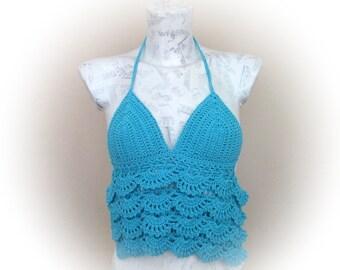 Turquoise Crochet Halter Top-Tank top open back- summer-Crochet Hippie Fringe Halter Top-gothic top