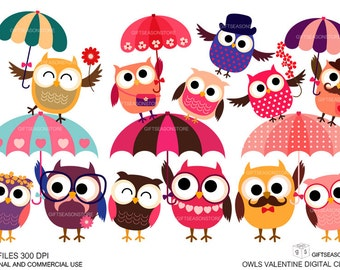 Valentine owls Digital clip art  for Personal and Commercial use - INSTANT DOWNLOAD