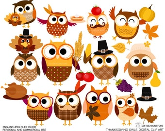 Thanksgiving owls Digital clip art for Personal and Commercial use - INSTANT DOWNLOAD