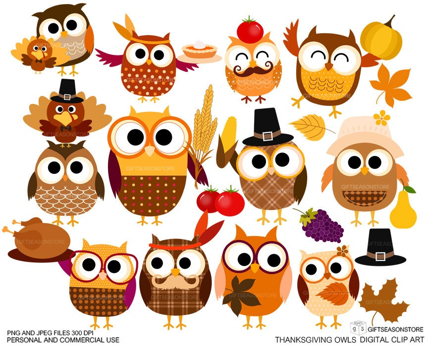 Thanksgiving owls Digital clip art for Personal and Commercial