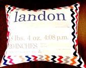 Personalized birth announcement pillow (Multi boy chevron)