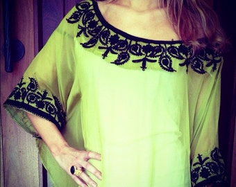 Lime green silk embroidered caftan dress
