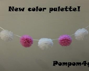 30 SMALL Tissue Paper Pom Poms Garland