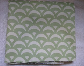 Decorator fabric Scrolls in Green and White 1 yard