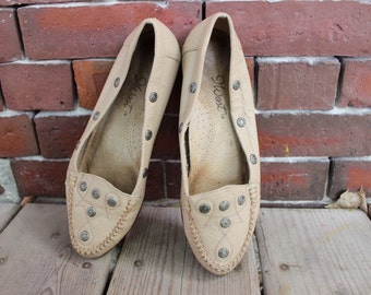 90's Southwestern leather moccasin flats sz 6