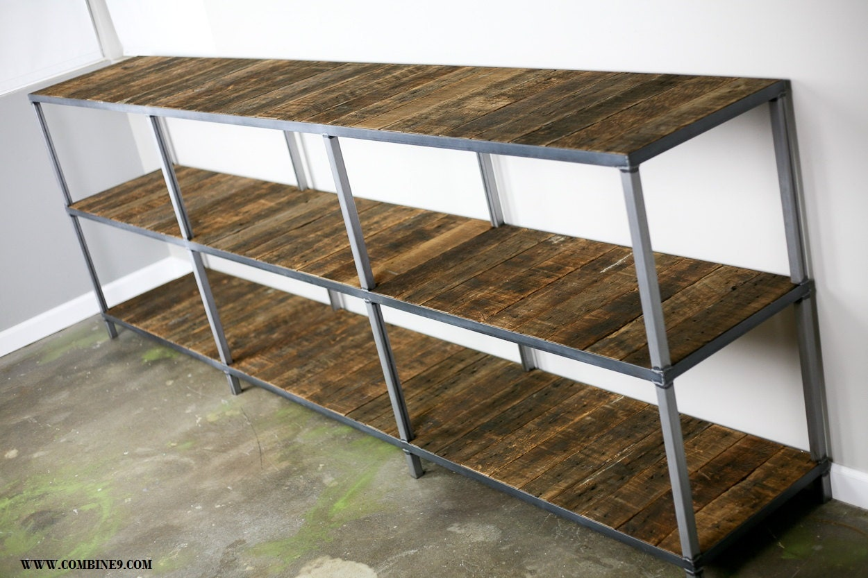 Reclaimed Wood And Metal Wall Shelves: Rustic Reclaimed Wood Bookcase. Modern Shelving Unit. Modern