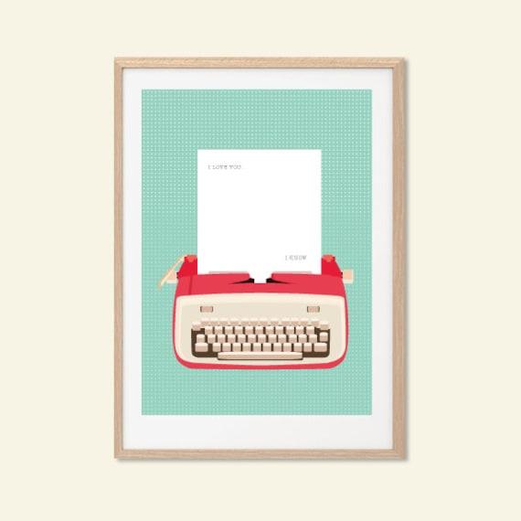 I LOVE YOU   I Know. Typewriter Star Wars Poster : Modern Illustration Retro Art Wall Decor Print