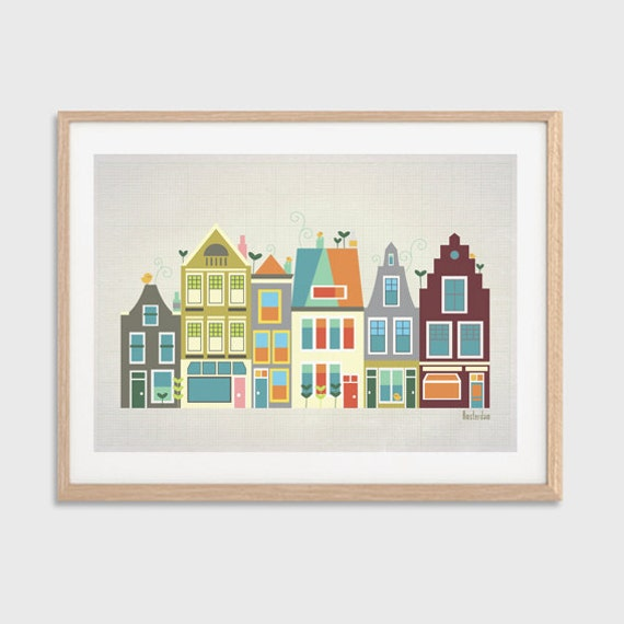 HOLLAND   Baby Went to Amsterdam Poster  : Modern Townhouses Illustration Retro Art Wall Decor Print