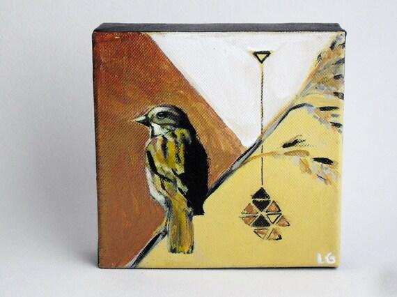 Yellow Copper Art- Sparrow Bird Painting - ORIGINAL Acrylic 6x6 Canvas Art