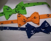 Blue Bow Tie - Anchor Tangerine - Navy - Kelly - Choose one - Adjustable - Self Tie (you tie it)