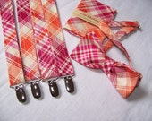MENS SUSPENDERS - Pocket Square and Bow Tie  Joel Dewberry Tangerine