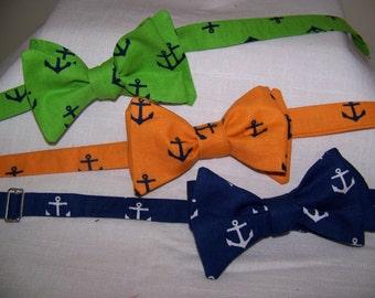All Hands on Deck -dear stella design - Free style Bow Tie - Tangerine - Navy - Kelly - Choose one - Adjustable - Self Tie (you tie it)
